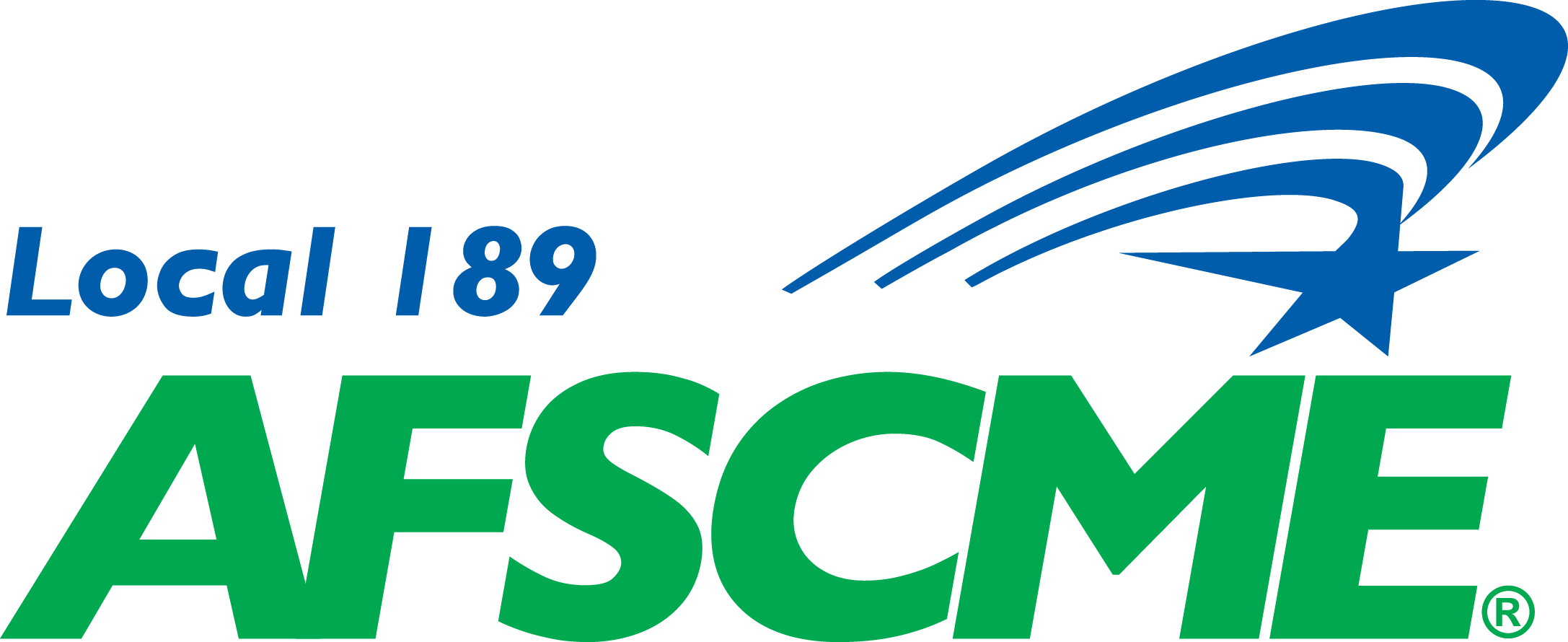 Afscme Local 189 Logo, green and blue text with a star