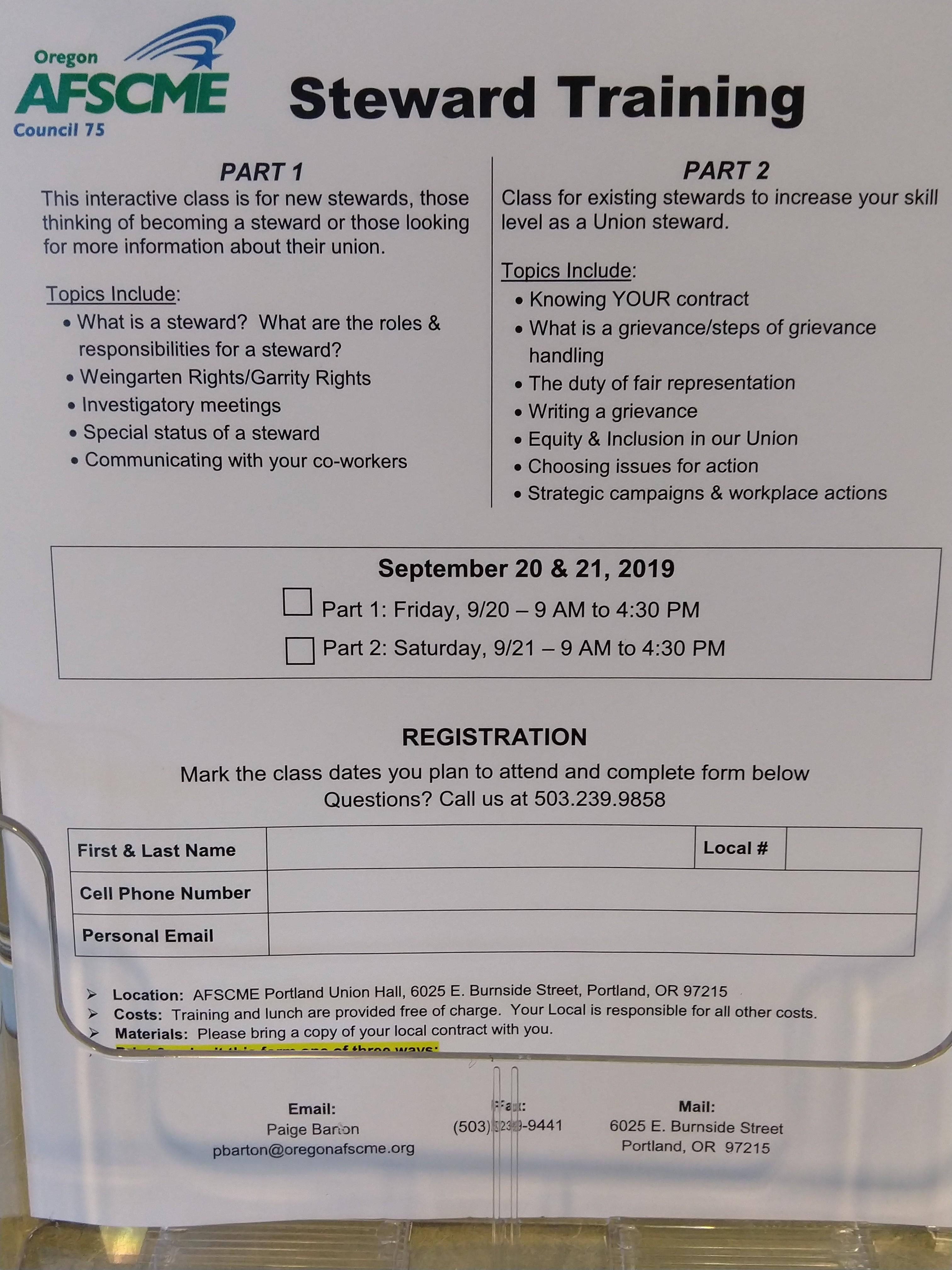 September 2019 Steward Training Flyer